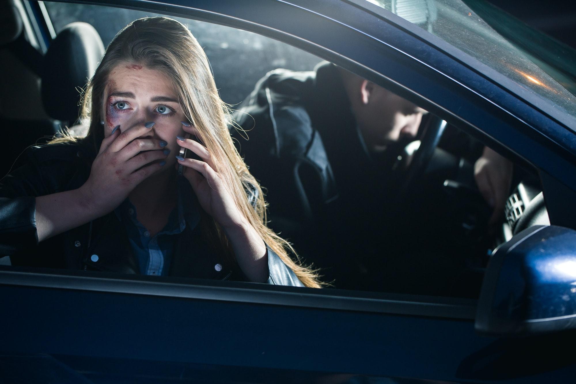Bleeding traumatized passenger calling for help