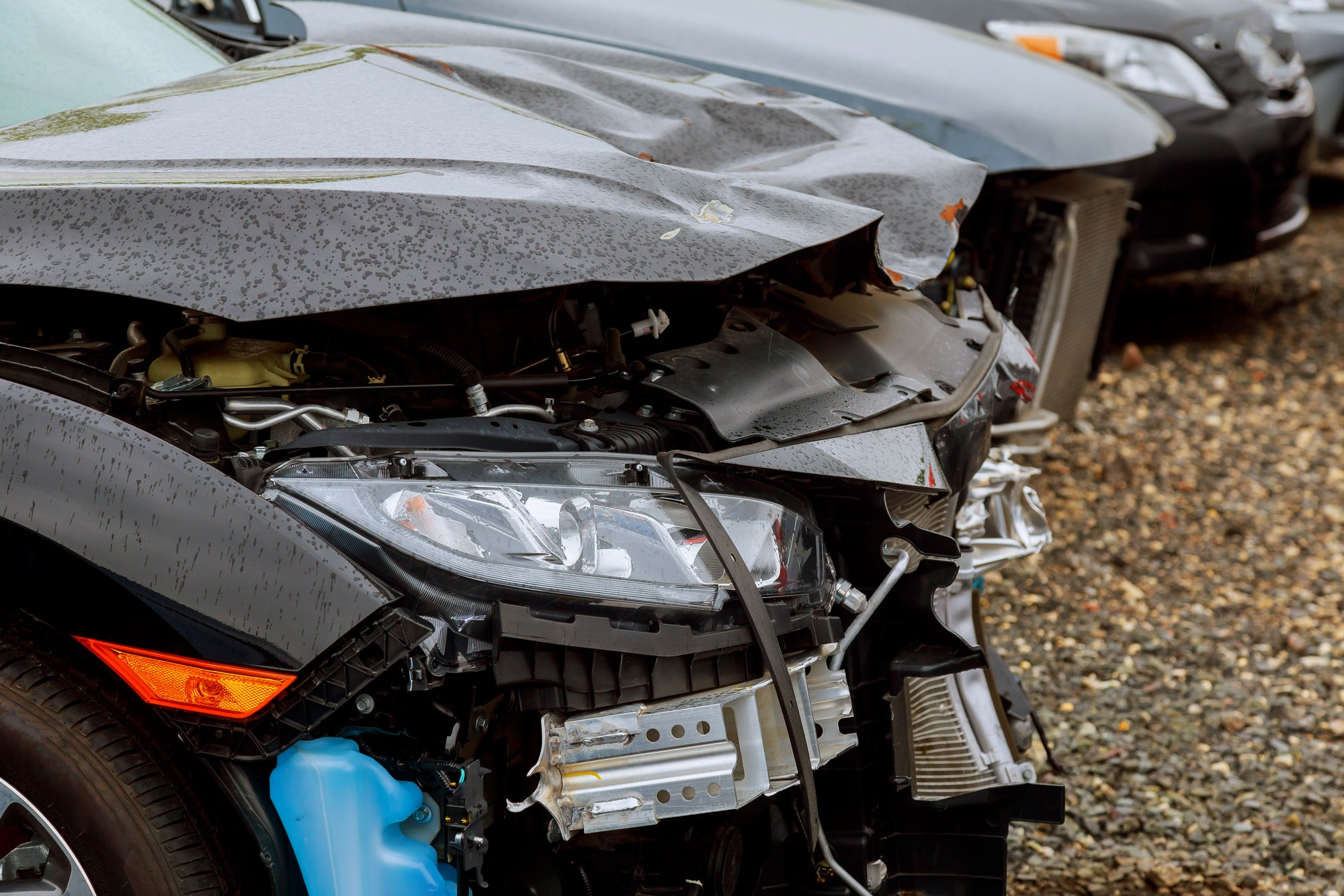 crash auto body automobile accident on street, damaged cars after collision