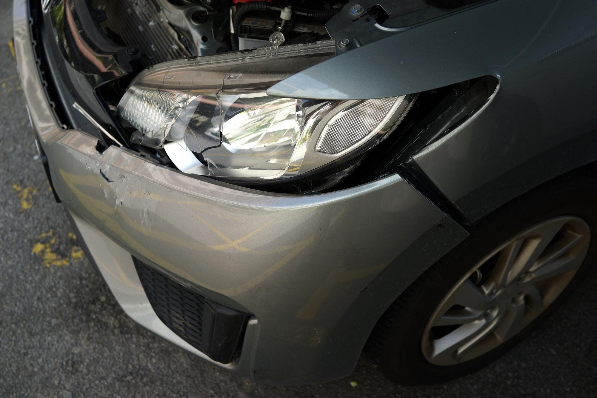 Crash car front view